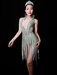 baratos -Fantasia de Dança Roupas de Dança Exótica / Body de Strass Mulheres Espetáculo Elastano Purpurina / Mocassim / Cristal / Strass Sem Manga Collant / Pijama Macacão