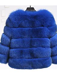 Недорогие -Жен. Повседневные / На выход Изысканный Зима Длинная Пальто с мехом, Однотонный V-образный вырез Длинный рукав Искусственный мех / Полиуретановая Светло-синий / Светло-серый / Тёмно-синий XL / XXL