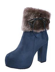 Недорогие -Жен. Fashion Boots Полиуретан Наступила зима На каждый день Ботинки На толстом каблуке Круглый носок Сапоги до середины икры Бант Черный / Синий / Верблюжий