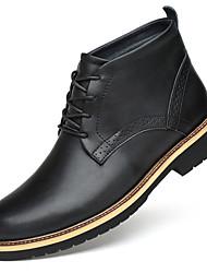 billiga -Herr Fashion Boots Läder Vinter Brittisk Stövlar Håller värmen Korta stövlar / ankelstövlar Svart / Fest / afton