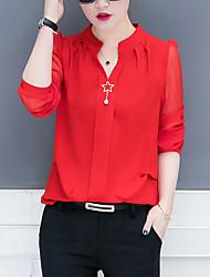 Недорогие -Жен. Офис Бусины Футболка / Блуза V-образный вырез Свободный силуэт Деловые / Классический Однотонный