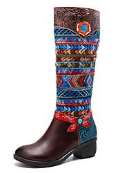 Недорогие -Жен. Fashion Boots Наппа Leather Наступила зима Шинуазери (китайский стиль) Ботинки На низком каблуке Сапоги до середины икры Коричневый