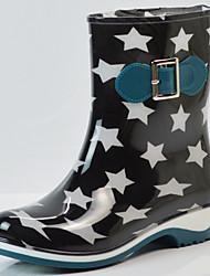 Недорогие -Жен. / Универсальные Резиновые сапоги ПВХ Наступила зима На каждый день Ботинки На толстом каблуке Круглый носок Сапоги до середины икры Синий / Розовый / Миндальный