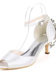 baratos -Mulheres Scarpin D'Orsay Cetim Primavera Verão Doce Sapatos De Casamento Salto Sabrina Peep Toe Pedrarias / Presilha Azul Real / Champanhe / Ivory / Festas & Noite