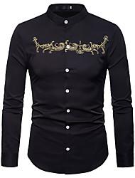 Недорогие -Муж. Вышивка Рубашка Деловые / Классический Однотонный / Контрастных цветов