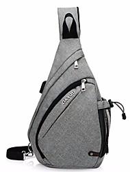 baratos -Homens Bolsas Tela de pintura Sling sacos de ombro Ziper Azul Escuro / Cinzento / Roxo