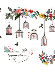 Недорогие -Декоративные наклейки на стены - Простые наклейки / Наклейки для животных Животные / Цветочные мотивы / ботанический Спальня / В помещении