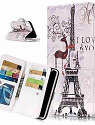 Недорогие -Кейс для Назначение Apple iPhone XS / iPhone XR / iPhone XS Max Кошелек / Бумажник для карт / со стендом Чехол Пейзаж / Эйфелева башня Твердый Кожа PU