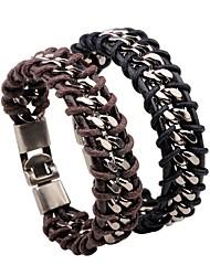 cheap -Men's Retro / Braided Leather Bracelet / Loom Bracelet - Leather Creative Stylish, Korean Bracelet Black / Brown For Daily / Bar
