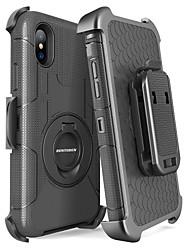 Недорогие -BENTOBEN Кейс для Назначение Apple iPhone X / iPhone XS Защита от удара / Защита от пыли / со стендом Чехол Однотонный / броня Твердый ПК / силикагель для iPhone XS / iPhone X