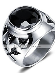 cheap -Men's Vintage Style 3D Band Ring Statement Ring - Titanium Steel Vintage, Punk 9 / 10 Black For Halloween Daily Street