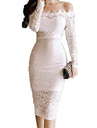Недорогие -Жен. Уличный стиль Облегающий силуэт Платье - Однотонный До колена