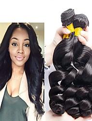 Недорогие -4 Связки Индийские волосы Свободные волны 8A Натуральные волосы Необработанные натуральные волосы Человека ткет Волосы Сувениры для чаепития Уход за волосами 8-28 дюймовый Естественный цвет