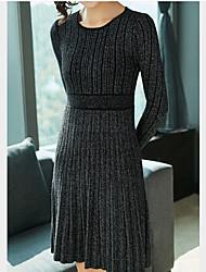 baratos -Mulheres Básico Tricô Vestido - Patchwork, Sólido Acima do Joelho