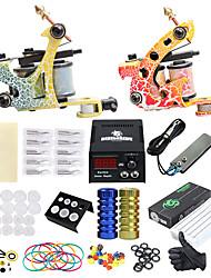 billige -Tattoo Machine Professionel Tattoo Kit - 2 pcs Tattoo Maskiner, Professionel LCD strømforsyning No case 2 x legering tattoo maskine til foring og skygge