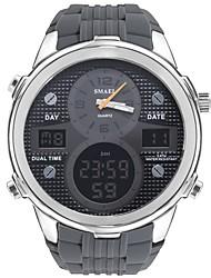 Недорогие -SMAEL Муж. Спортивные часы электронные часы Японский Цифровой силиконовый Черный / Серый 50 m Защита от влаги Календарь Секундомер Аналого-цифровые На каждый день Мода - Черный Серебряный / Серый