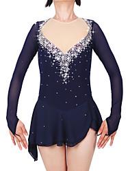 cheap -Figure Skating Dress Women's / Girls' Ice Skating Dress Dark Blue Spandex High Elasticity Professional Skating Wear Fashion Long Sleeve Ice Skating / Winter Sports / Figure Skating