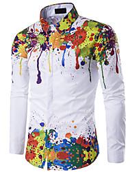 Недорогие -Муж. Старинный Рубашка Тонкие Цветочный принт / Длинный рукав