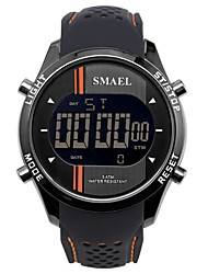 Недорогие -SMAEL Муж. Спортивные часы электронные часы Японский Японский кварц силиконовый Черный / Небесно-голубой 50 m Защита от влаги Календарь Секундомер Цифровой На каждый день Мода -  / Хронометр