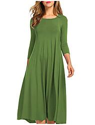 abordables -Femme Grandes Tailles Basique Coton Mince Balançoire Robe - Plissé / Mosaïque, Couleur Pleine Taille haute Midi