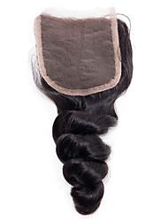 Недорогие -Yavida Монгольские волосы / Свободные волны 4x4 Закрытие / Бесплатно Part Волнистый Бесплатный Часть Швейцарское кружево Натуральные волосы Универсальные Мягкость / Шелковистость / Лучшее качество