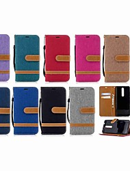 Недорогие -Кейс для Назначение Nokia Nokia 5.1 / Nokia 3.1 Кошелек / Бумажник для карт / со стендом Чехол Однотонный Твердый текстильный для Nokia 5.1 / Nokia 3.1 / Nokia 2.1
