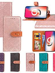 Недорогие -Кейс для Назначение Apple iPhone XS / iPhone XR / iPhone XS Max Кошелек / Бумажник для карт / со стендом Чехол Плитка Твердый Кожа PU