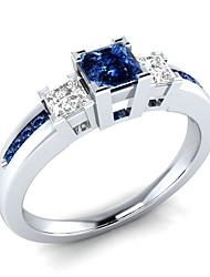 abordables -Femme Zircon cubique Stylé Bague - Cuivre, Platiné Romantique 6 / 7 / 8 / 9 / 10 Blanc / Bleu Pour Fiançailles Cadeau