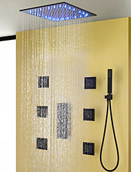 cheap -Contemporary Black Bath Shower Faucet Set / 16 Inch Bathroom Rain LED Shower Head / Hot And Cold Mixer Valve / Brass Hand Shower Included