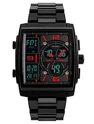 Недорогие -Муж. электронные часы Цифровой Нержавеющая сталь Черный Cool Аналого-цифровые На каждый день - Черный Красный Синий