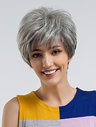 baratos -Perucas de cabelo capless do cabelo humano Cabelo Humano Liso Corte Pixie Riscas Naturais Cinzento Escuro Sem Touca Peruca Mulheres Roupa Diária