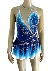 cheap -Figure Skating Dress Women's / Girls' Ice Skating Dress Blue Spandex Micro-elastic Professional Skating Wear Sequin Long Sleeve Figure Skating
