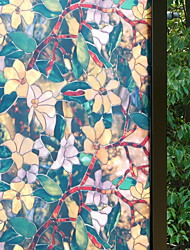 cheap -Window Film & Stickers Decoration Floral Flower / Floral PVC(PolyVinyl Chloride) Window Sticker