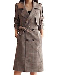 baratos -Mulheres Casaco Longo Básico - Pontos e Xadrez