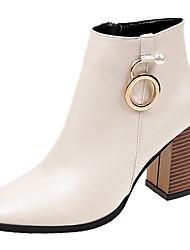 Недорогие -Жен. Ботильоны Полиуретан Осень Ботинки На толстом каблуке Круглый носок Черный / Бежевый