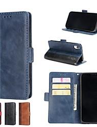 billiga -fodral Till Apple iPhone XR / iPhone XS Max Plånbok / Korthållare / med stativ Fodral Enfärgad Hårt PU läder för iPhone X / iPhone 8 Plus / iPhone 8