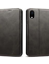 Недорогие -Кейс для Назначение Apple iPhone XS / iPhone XS Max Кошелек / Бумажник для карт / Защита от удара Чехол Однотонный Твердый Кожа PU для iPhone XS / iPhone XR / iPhone XS Max