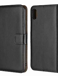 Недорогие -Кейс для Назначение Apple iPhone XR / iPhone XS Max Кошелек / Бумажник для карт / со стендом Чехол Однотонный Твердый Настоящая кожа для iPhone XS / iPhone XR / iPhone XS Max