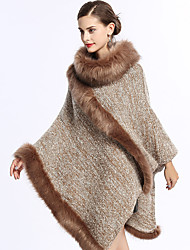 cheap -Long Sleeve Faux Fur / Knit Wedding / Party / Evening Women's Wrap With Split Joint Capes