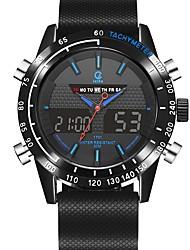 Недорогие -Муж. Спортивные часы электронные часы Японский Кварцевый Стеганная ПУ кожа Черный 100 m Защита от влаги Календарь Секундомер Аналого-цифровые На каждый день Мода - Оранжевый Синий / Фосфоресцирующий