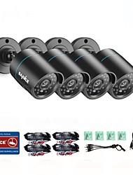 abordables -sannce® 4pcs tvi kits de caméra 720p kits de système de surveillance à domicile pour systèmes de surveillance à distance