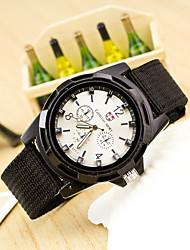 baratos -Homens Relógio Militar Relógio de Pulso Quartzo Relógio Casual Tecido Banda Analógico Fashion Preta / Azul / Verde - Preto Verde Azul