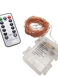 cheap -10m String Lights / Remote Controls 100 LEDs 1 13Keys Remote Controller Warm White / Cold White Decorative / Wine Bottle Stopper Cork Copper Wire AA Batteries Powered 1 set