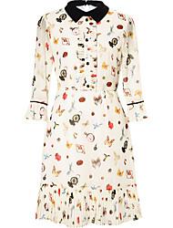 cheap -Women's Cotton Shift Dress Shirt Collar