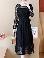 Недорогие -Жен. Оболочка Платье - Однотонный Завышенная Средней длины