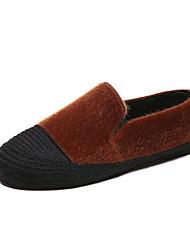 Недорогие -Жен. Комфортная обувь Искусственный мех / Полиуретан Осень На каждый день Мокасины и Свитер На плоской подошве Круглый носок Черный / Бежевый / Коричневый / Контрастных цветов