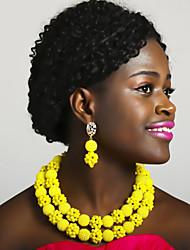 Недорогие -Жен. Многослойность Комплект ювелирных изделий - Шарообразные Мода Включают Струнные ожерелья Синий / Ярко-розовый / Светло-коричневый Назначение Для вечеринок Повседневные