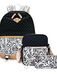 baratos -Mulheres Bolsas Tela de pintura Conjuntos de saco 3 Pcs Purse Set Ziper Floral Rosa / Azul Céu / Khaki