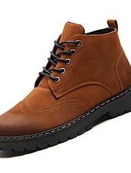Недорогие -Муж. Армейские ботинки Полиуретан Осень На каждый день Ботинки Доказательство износа Сапоги до середины икры Серый / Коричневый / Военно-зеленный