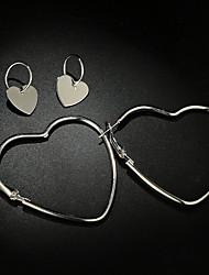 Недорогие -Жен. Ретро Серьги-кольца - Сердце Простой, Милая Серебряный Назначение Свидание Офис